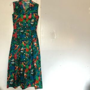 Vintage Dress Womens 2 Fitted Midi Pockets Button